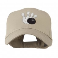 Bowling Ball with 4 Pins Embroidered Cap - Khaki