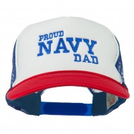 Proud Navy Dad Embroidered Foam Mesh Cap - Red White Royal