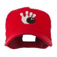 Bowling Ball with 4 Pins Embroidered Cap - Red