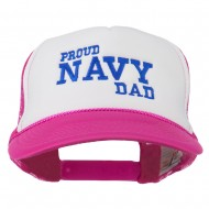 Proud Navy Dad Embroidered Foam Mesh Cap - Hot Pink White