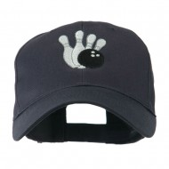 Bowling Ball with 4 Pins Embroidered Cap - Navy