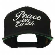 Peace on Earth Embroidered Snapback Cap - Black