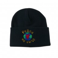 Peace on Earth Embroidered Beanie - Navy