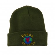 Peace on Earth Embroidered Beanie - Olive