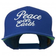 Peace on Earth Embroidered Snapback Cap - Royal