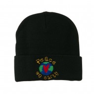 Peace on Earth Embroidered Beanie - Black