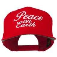 Peace on Earth Embroidered Snapback Cap - Red