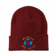 Peace on Earth Embroidered Beanie - Maroon
