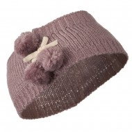 Knit Headband with 3 Pom Pom - Mauve