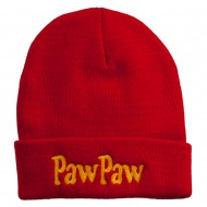PawPaw Embroidered Long Cuff Beanie - Red
