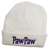 PawPaw Embroidered Long Cuff Beanie - White