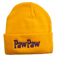 PawPaw Embroidered Long Cuff Beanie - Yellow