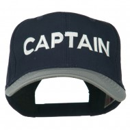 Captain Embroidered Cotton Twill Cap - Grey Navy