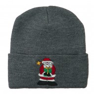 Santa Claus holding a Present Embroidered Beanie - Grey