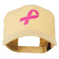 Breast Cancer Hot Pink Ribbon Embroidered 5 Panel Cap - Maize