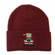 Santa Claus holding a Present Embroidered Beanie - Maroon