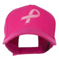Breast Cancer Hot Pink Ribbon Embroidered 5 Panel Cap - Hot Pink