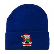 Santa Claus holding a Present Embroidered Beanie - Royal