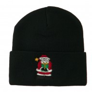 Santa Claus holding a Present Embroidered Beanie - Black