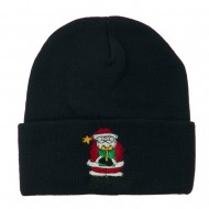 Santa Claus holding a Present Embroidered Beanie - Navy