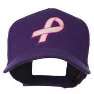 Breast Cancer Hot Pink Ribbon Embroidered 5 Panel Cap - Purple