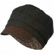 Women's Paper Straw Brim Crushable Cabbie Hat - Black