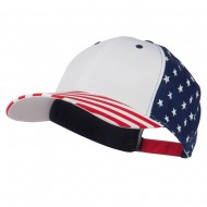 6 Panel Structured Cotton Twill USA Flag Cap - White