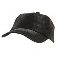 Low Profile Pine Stripe Cotton Washed Cap - Black
