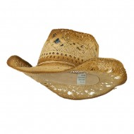 Toyo Paper Cowboy Hat with Brown Wash - Natural