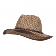 Patterned Panama Hat with Buckle Band - Brown