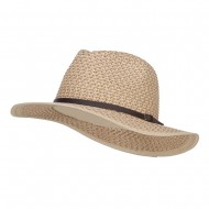 Patterned Panama Hat with Buckle Band - Tan