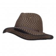 Patterned Panama Hat with Buckle Band - Black
