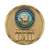 Proud To Be U.S. Navy Coin - Blue Navy Dad