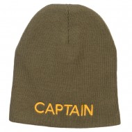 Captain Embroidered Short Beanie - Olive