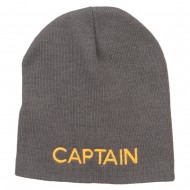 Captain Embroidered Short Beanie - Grey