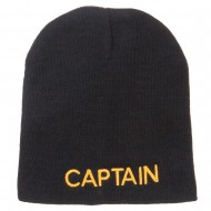 Captain Embroidered Short Beanie - Black