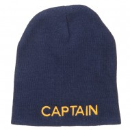 Captain Embroidered Short Beanie - Navy