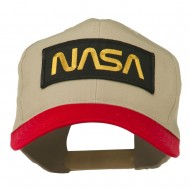 NASA Patched Two Tone Cotton Twill Cap - Red Khaki
