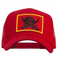 Skull Choppers Pirate Patched Mesh Cap - Red