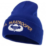 US Paratrooper Design Embroidered 12 Inch Long Knitted Beanie - Royal