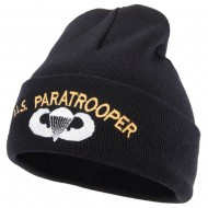 US Paratrooper Design Embroidered 12 Inch Long Knitted Beanie - Black