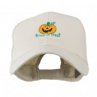 Trick or Treat with Pumpkin Embroidered Cap - Stone