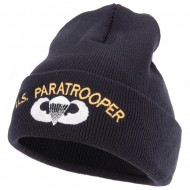 US Paratrooper Design Embroidered 12 Inch Long Knitted Beanie - Navy