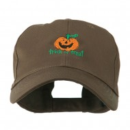 Trick or Treat with Pumpkin Embroidered Cap - Brown