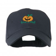 Trick or Treat with Pumpkin Embroidered Cap - Navy