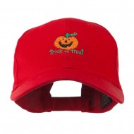 Trick or Treat with Pumpkin Embroidered Cap - Red