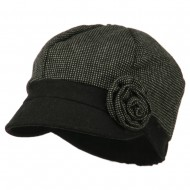 Women's 6 Panel Rose Cabbie Cap - Black