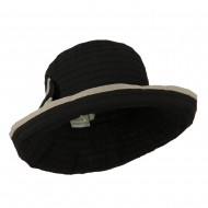 Woman's Poly Ribbon Crushable Hat with Bow Accent - Black