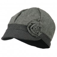 Women's 6 Panel Rose Cabbie Cap - Grey