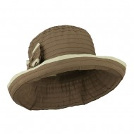 Woman's Poly Ribbon Crushable Hat with Bow Accent - Brown